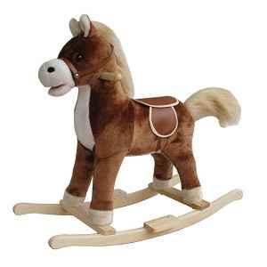 Petit cheval à bascule peluche marron foncé
