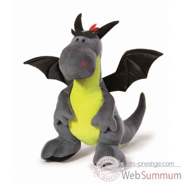Peluche dragon anthracite et vert-neon assis 45cm Nici -NI39804