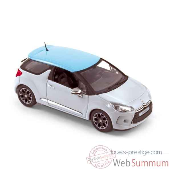 Citroen ds3 2010 white with blue boticcelli roof  Norev 155280
