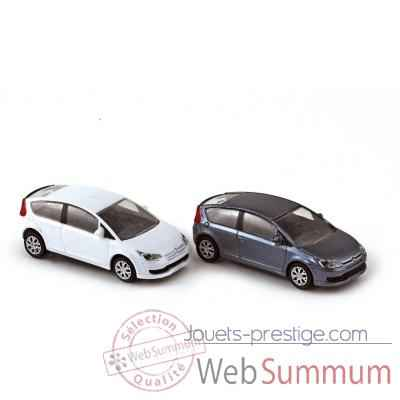 Coffret 4 citroen c4 coupe 2004 iron grey / white  Norev 155495