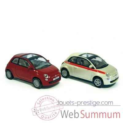 Coffret 4 fiat 500 2007 red / sport version white Norev 770039