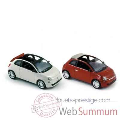 Coffret 4 x fiat 500c 2009 white & red Norev 770045