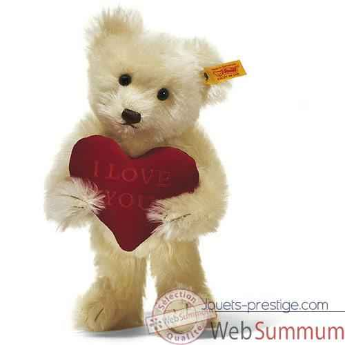 Peluche Steiff Ours Teddy I love you mohair creme -st002885