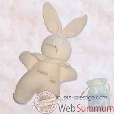 "Les Petites Marie - Peluche doudou Lapin musical Nid d\'abeille brode ""coucou bebe\"""