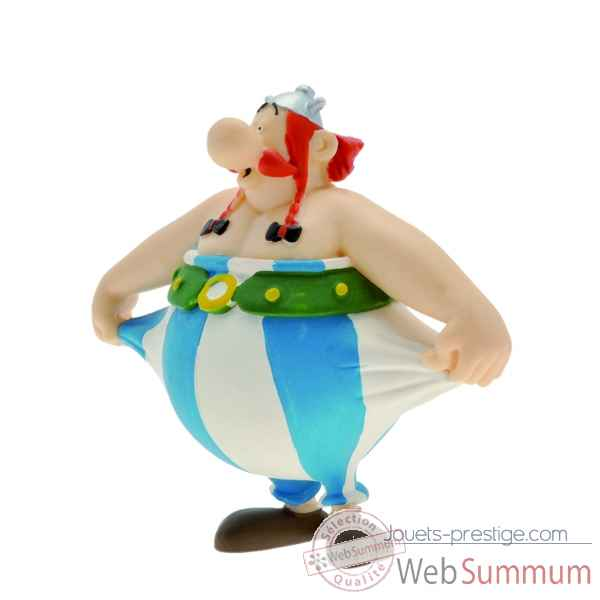Collection asterix figurine obelix tenant son pantalon Figurine Plastoy 60559