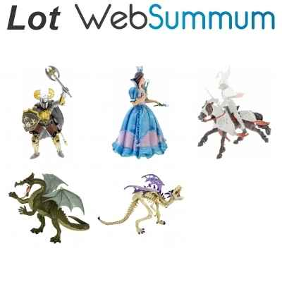Lot 5 figurines chevalier princesse dragon Plastoy -LWS-135