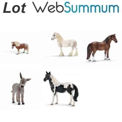 Lot 5 figurines ane et cheval Schleich -LWS-75
