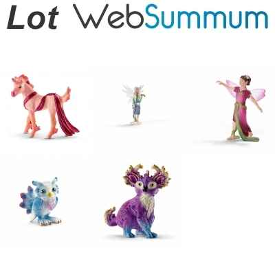 Lot 5 figurines elfe et animaux Schleich -LWS-82