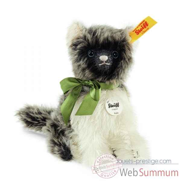 Fluffy chat, dark gris/blanc STEIFF -031816