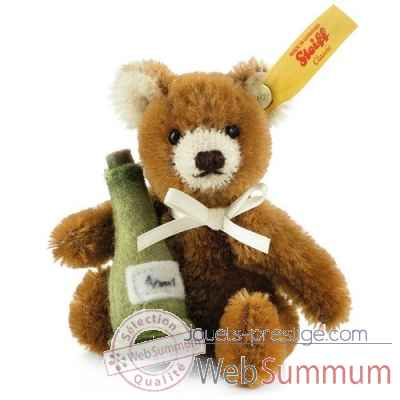 Ours teddy miniature bouteille a champagne, brun STEIFF -028908
