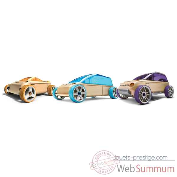 Voiture en bois Automoblox minis 3 pack (orange-violet-bleu) -53102