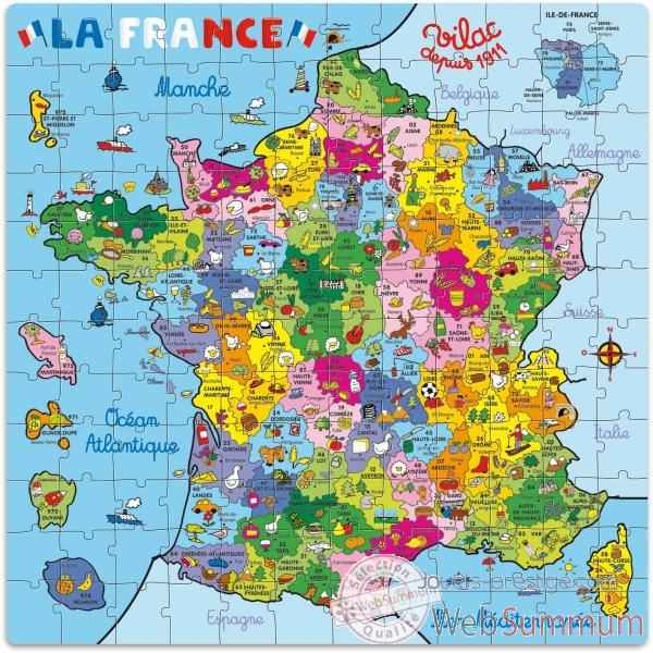 Puzzle 144 pcs carte de france en valise vilac 2603