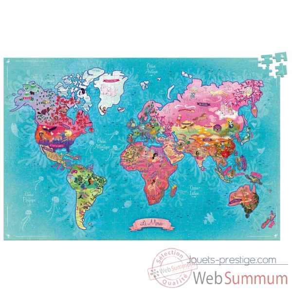 Puzzle carte du monde poetique (500 pcs) vilac -2724