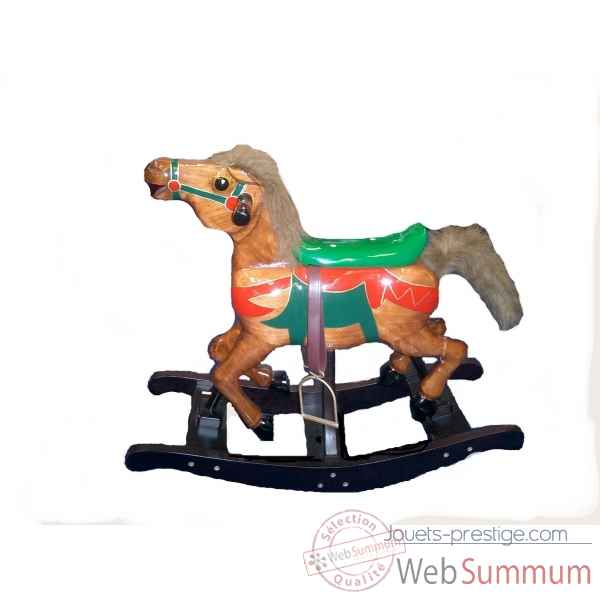 cheval carousel bascule en bois marron dans jouets bascule sur jouets prestige. Black Bedroom Furniture Sets. Home Design Ideas